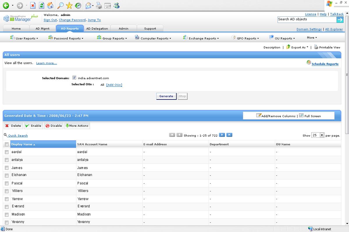 Informes de todos los usuarios de Active Directory