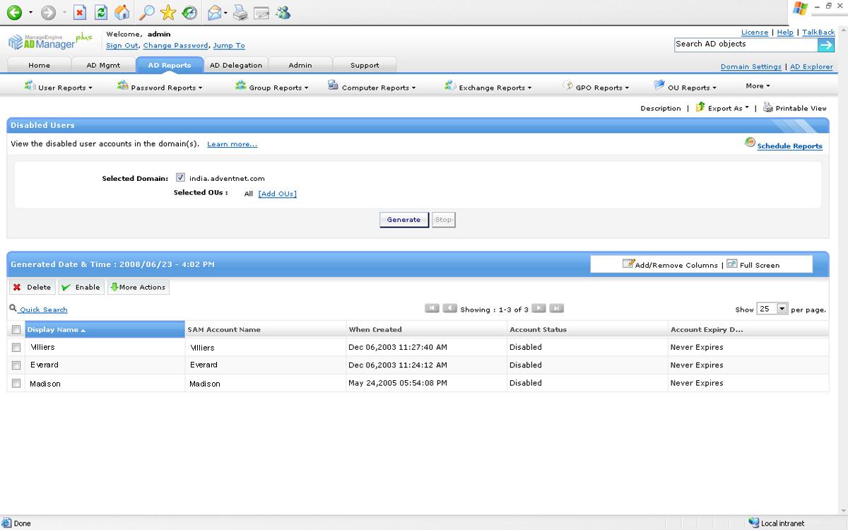 Informes de usuarios deshabilitados de Active Directory
