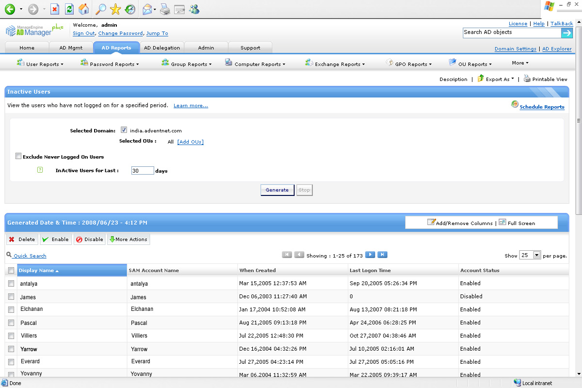 Informe de usuarios inactivos de Active Directory