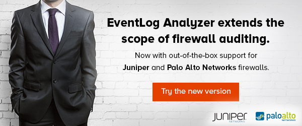 EventLog Analyzer extends the scope of firewall auditing. Now with out-of-the-box support for Juniper and Palo Alto Networks firewalls. Try the new version.