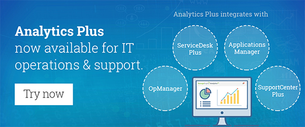 Analytics Plus now integrates with ManageEngine operations and support suite.