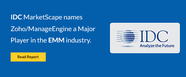IDC MarketScape names Zoho/ManageEngine as a Major Player in the EMM industry.