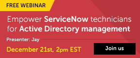 Empower ServiceNow technicians for Active Directory Management. Join us