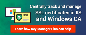 Centrally track and manage SSL certificates in IIS and Windows CA. Learn how Key Manager Plus can help.