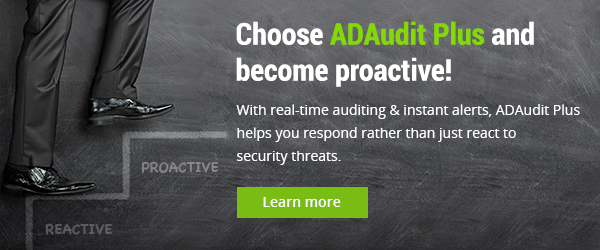 With ADAudit Plus' real-time audit, respond rather than react to threats.
