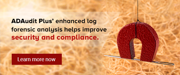 ADAudit Plus' enhanced log analysis helps improve security and compliance.